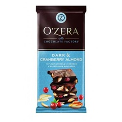 «OZera», шоколад Dark & Cranberry Almond, 90 гр.