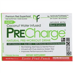 NovaForme, PreCharge, Natural Pre-Workout Drink, Exotic Fruit Punch, 0.35 oz (10 g)